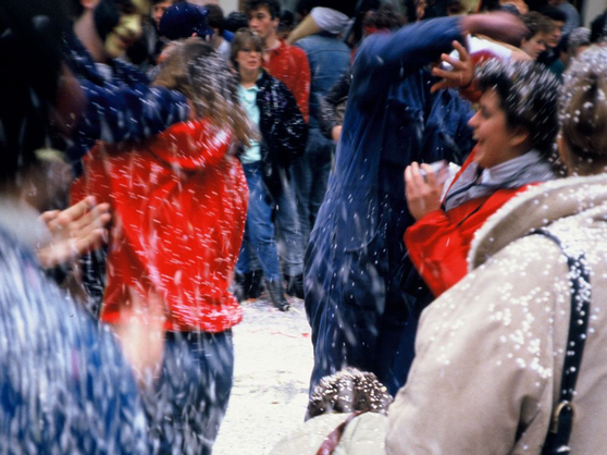 MUDEC students in a confetti fight at Carnival in Diekirch