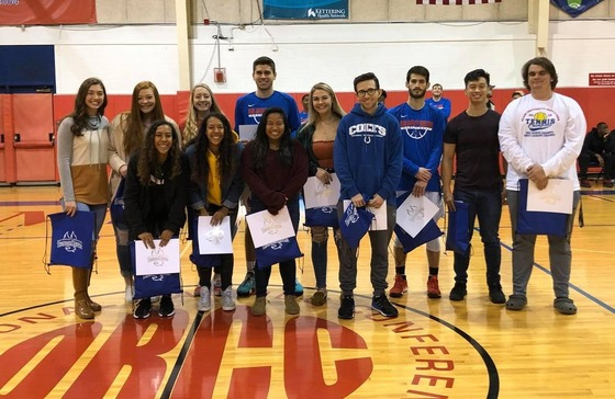 Miami Middletown athletes being honored during half-time