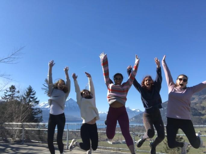 MUDEC girls jumping in the air in Switzerland