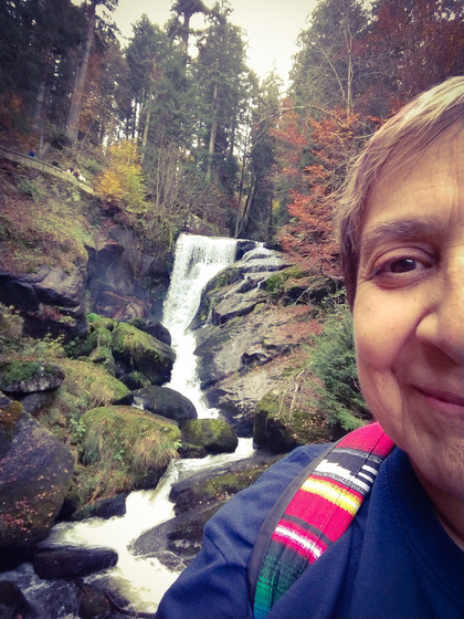 Dr.O at the Triberg waterfall in Germany