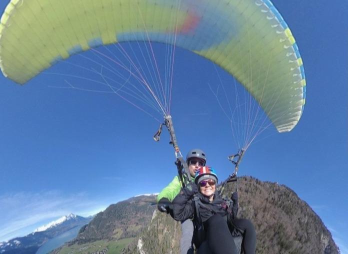 Student paragliding in Switzerland