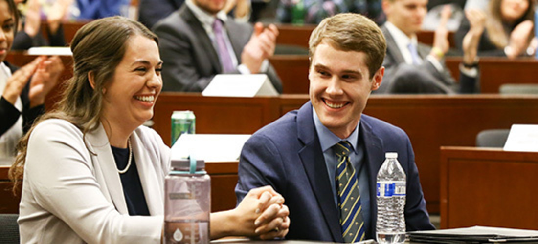 Chandler Ray '21 and Abigail Wood '21 win 2020 Bass Berry & Sims Moot Court Competition