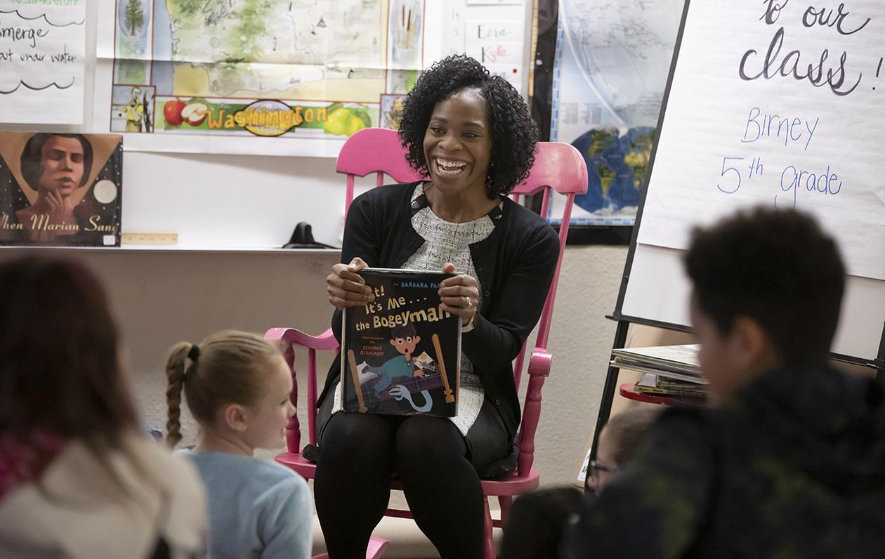 Uchenna Baker at Birney Elementary School for Read Across America