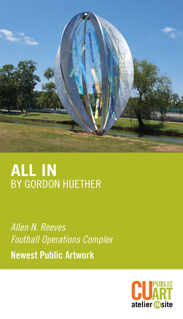 All In by Gordon Huether. Allen N. Reeves Football Operations Complex. Newest Public Artwork. CU Public Art atelier insite