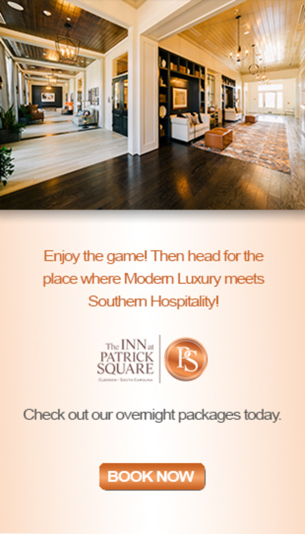 Enjoy the game! Then head for the place where Modern Luxury meets Southern Hospitality! The INN at Patrick Square. Check out our overnight packages today. Book Now.