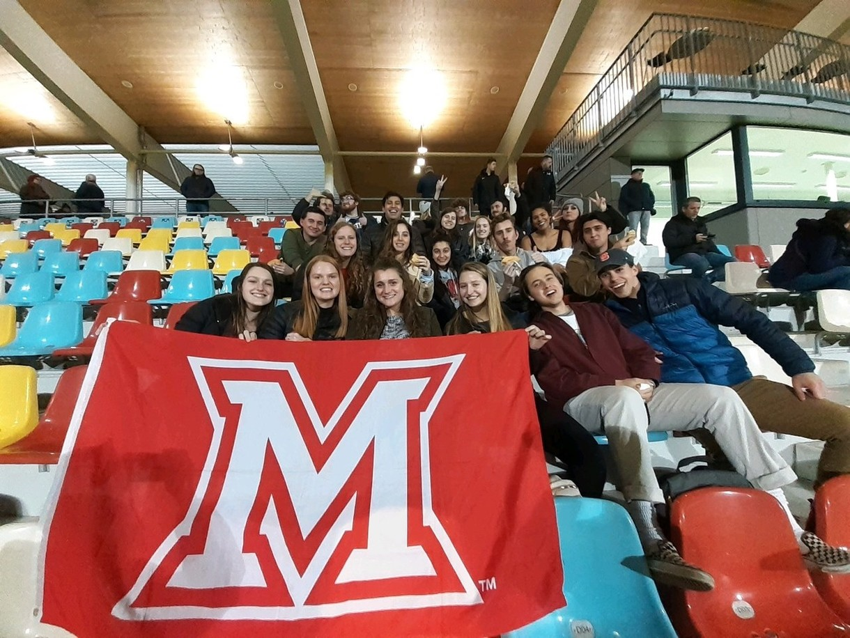 MUDEC students in FC Differdange stadium