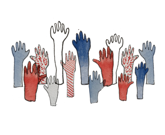 illustration of red, white, and blue hands raised