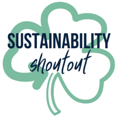 """Image of logo that has a shamrock and the words, """"Sustainability shout out."""""""