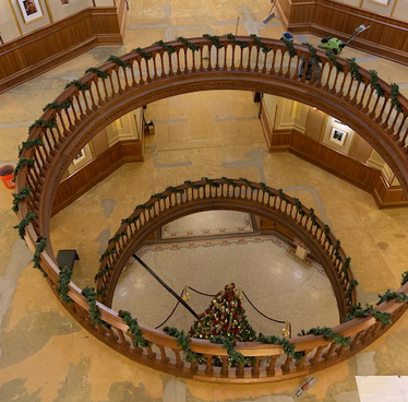 Image of spiral staircase in main building.
