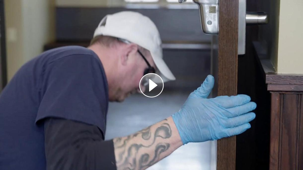 Video of Building Services Staff cleaning builidings on campus