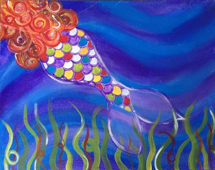 painting of mermaid swimming