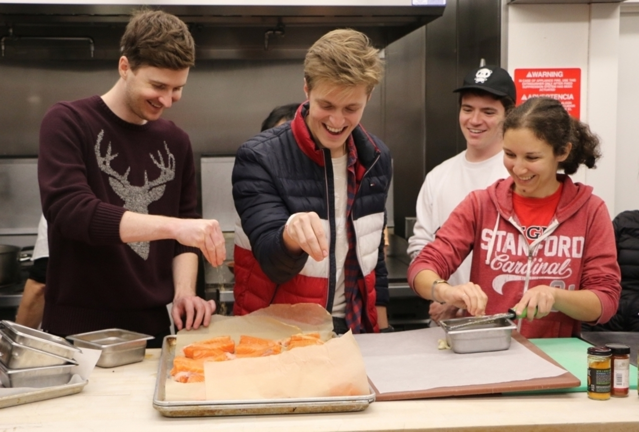Students in cooking class on French Persian Cooking.