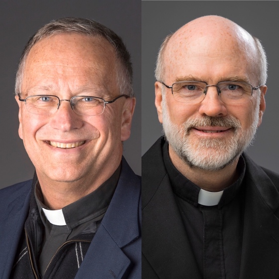 On the left is a photo of Rev. Jim Bracke, staff chaplain, and on the right is Rev. Frank Murphy, faculty chaplain.