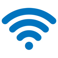 the blue wi-fi fan with a dot at the bottom and three increasingly longer lines curving out above
