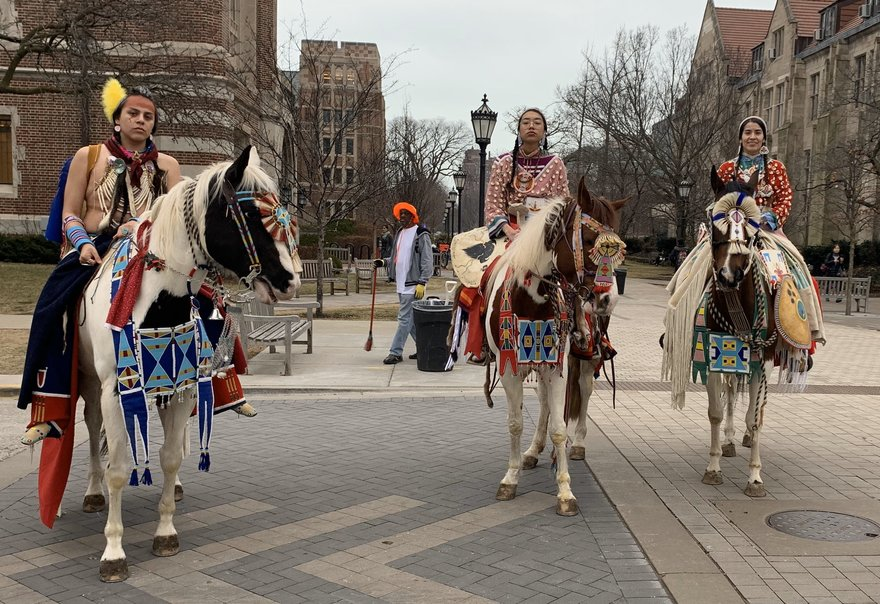 (From left to right) Rusty LaFrance, KamiJo Whiteclay, and JoRee LaFrance participated in a parade at the University of Chicago.