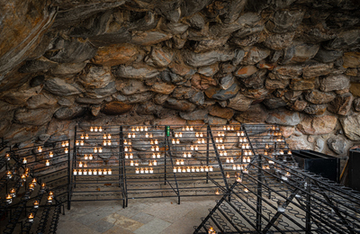 Someone arranged candles at the Grotto to form 202o, in celebration of the Class of 2020 who will celebrate the University's Commencement online this year.