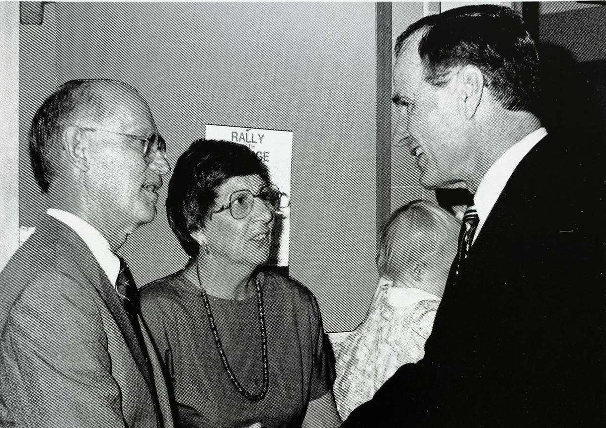 Miami University President Paul Pearson and his wife meeting Vice President Bush in Luxembourg in 1984