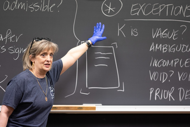Laura Hollis, associate professor in the Mendoza College of Business and the Law School, records a class lecture, part of the University's coronavirus response.