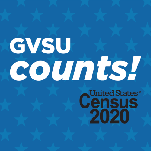 GVSU Counts! United States Census 2020 on blue background with stars