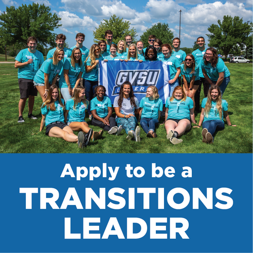 Apply to be a Transitions Leader photo of Transitions Leaders in teal shirts holding GVSU flag