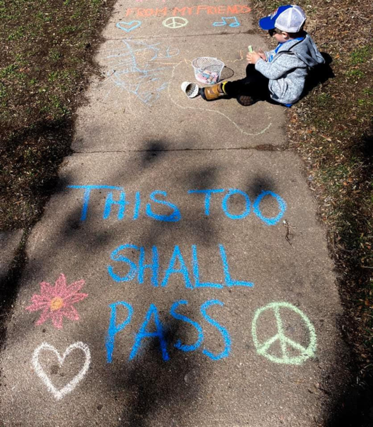Marissa Page makes chalk art while living under Colorado's stay-at-home order with her husband and son in Denver. Ukulele practice, cooking, and art projects round out their days. Marissa donated this photo to help us document our shared historical moment. PH.COVID.0001