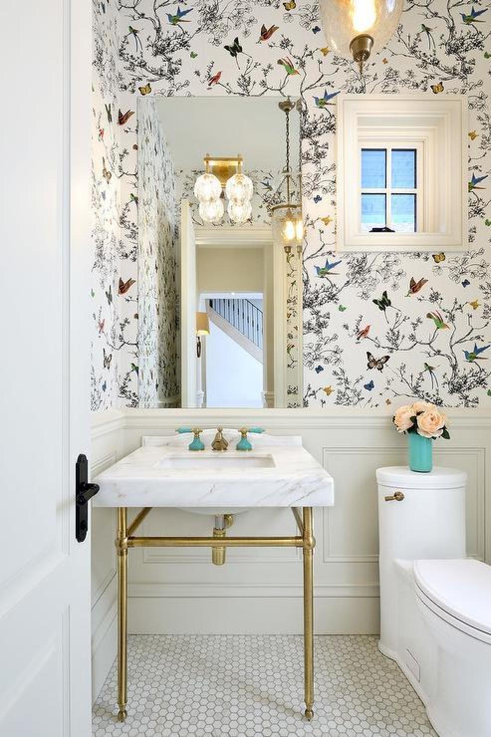 Schumacher bathroom design with Birds & Butterflies print wallpaper