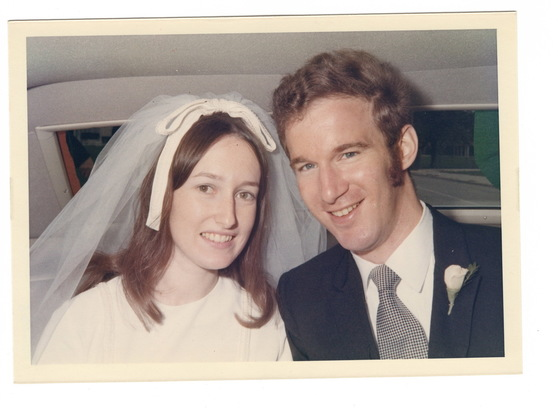 Eileen and Bruce at their wedding, 50 years ago