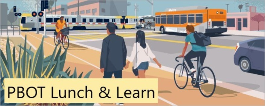image of people walking, biking on path, along with bus and train