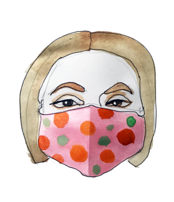 illustration of a person wearing a protective mask