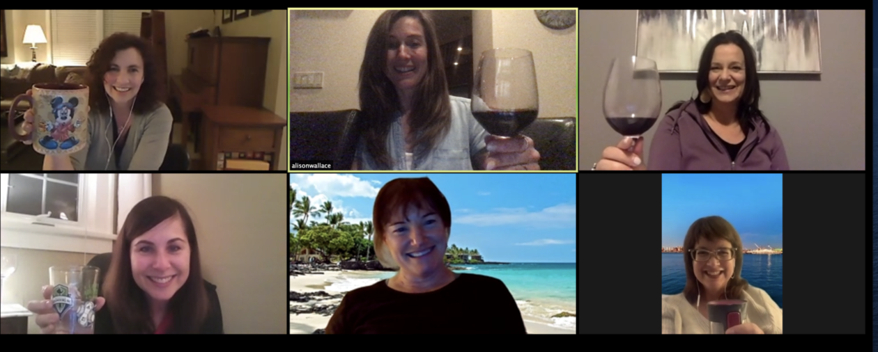 Logger alumni toasting to friendship on Zoom