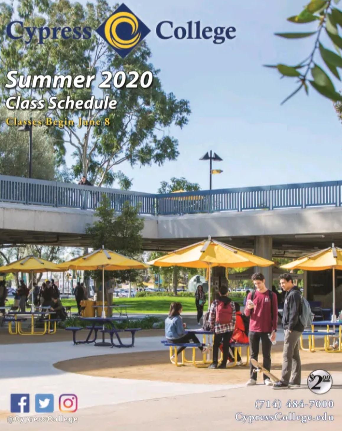 Cypress College Summer 2020 Class Schedule Cover