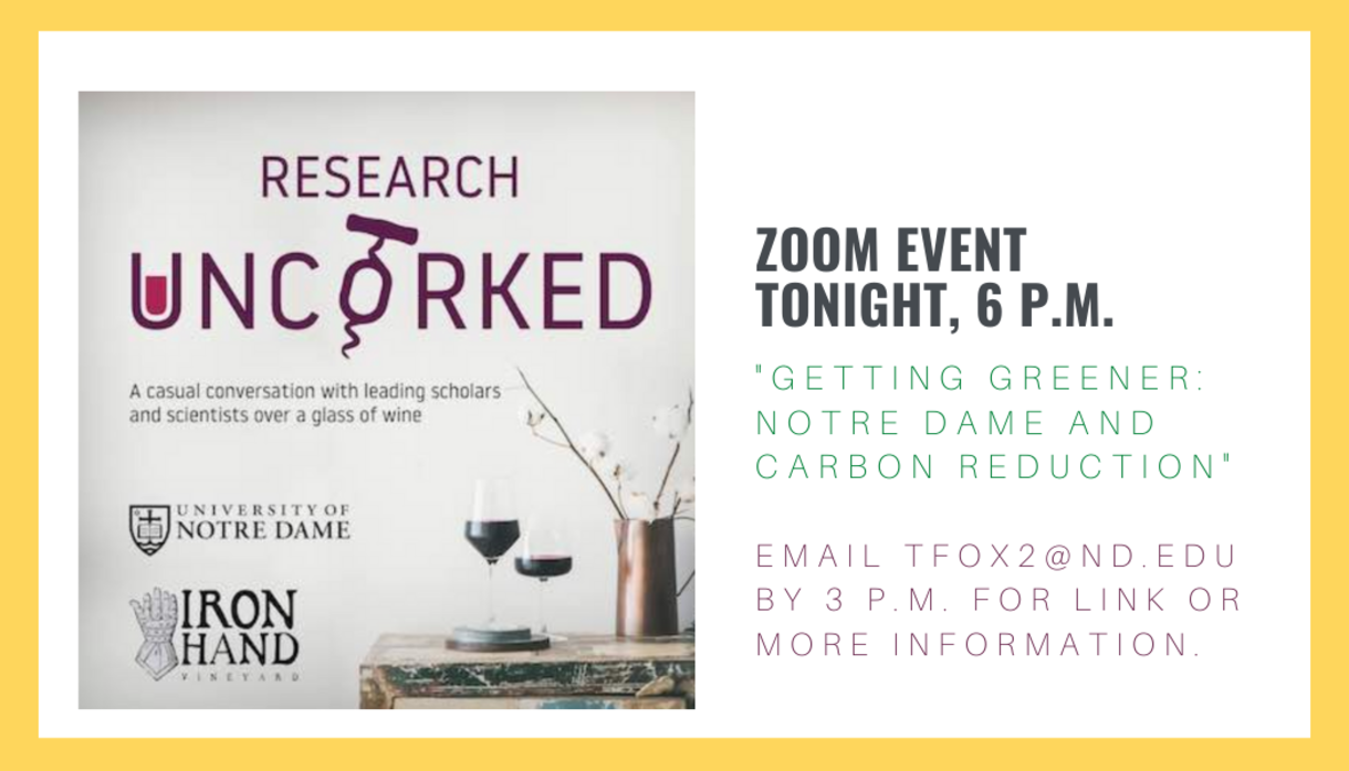 Graphic with information about tonight's virtual Research Uncorked. Click to email RSVP and receive link to attend event.