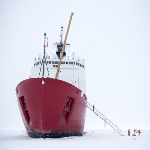 Arctic Ocean sea ice operations about the USCGC Healy on the 2015 U.S. GEOTRACES cruise. (Photo courtesy of Cory Mendenhall, U.S. Coast Guard.)