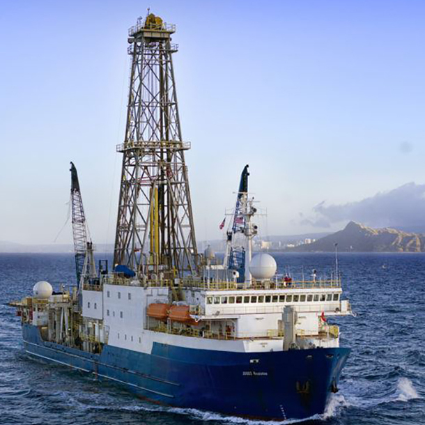 The JOIDES Resolution research drillship. (Photo by IODP.)