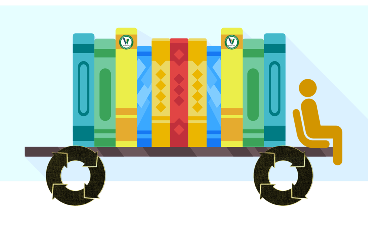 Image of bookshelf as a car body with recycle icon as wheels and a person sitting up front.
