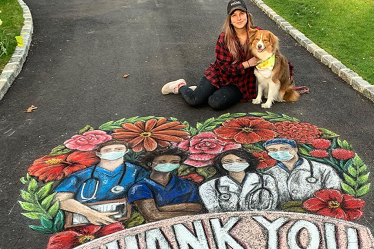Alumna Kara Hoblin '11 (Photography) applied her remarkable chalk art talent to create a special homage for medical workers