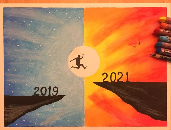 A painting of a person jumping from one cliff labeled 2019 to another cliff labeled 2021