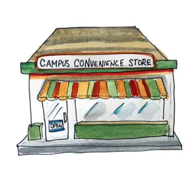illustration of a campus convenience store