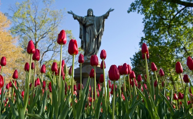 Photos of Sacred Heart of Jesus statue outside Main Building.