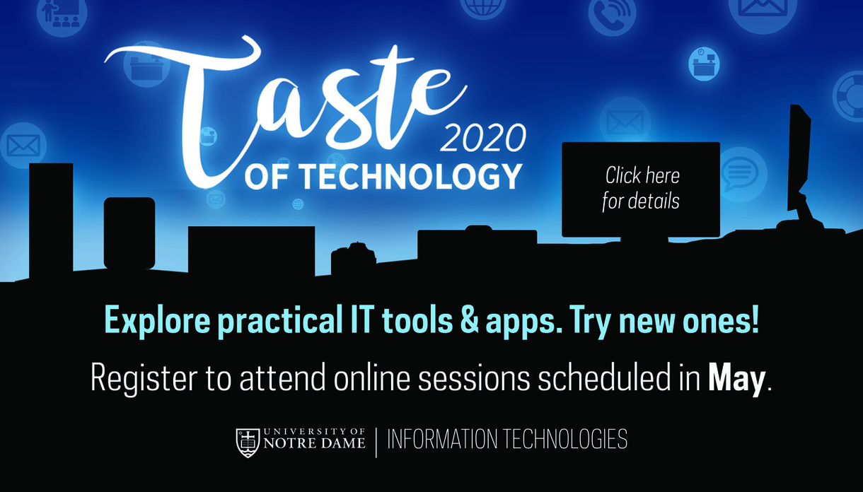 Taste of Technology graphic. Click for virtual class options this month.