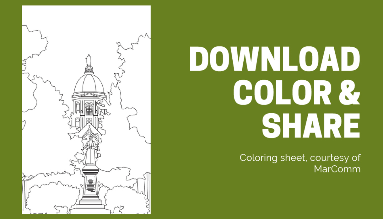 Coloring sheet of Main Building at Notre Dame.