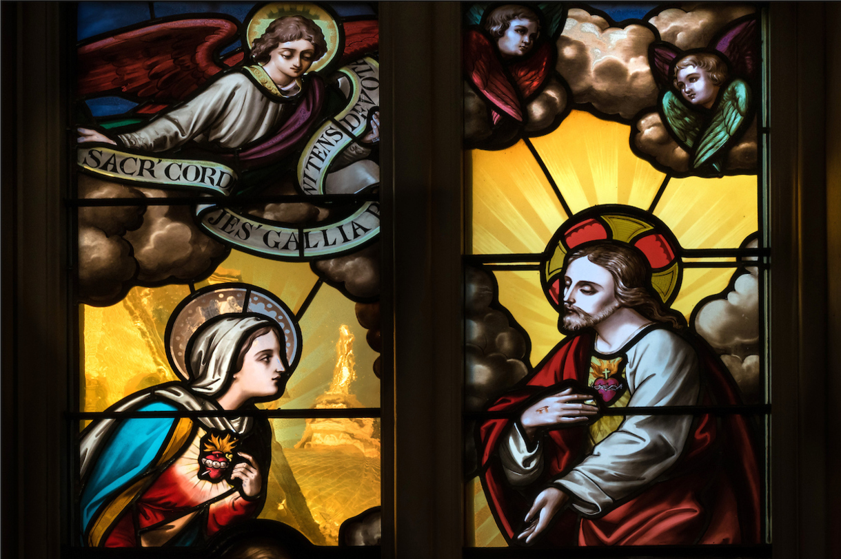 Photo of a stained glass window in the Basilica of the Sacred Heart at Notre Dame