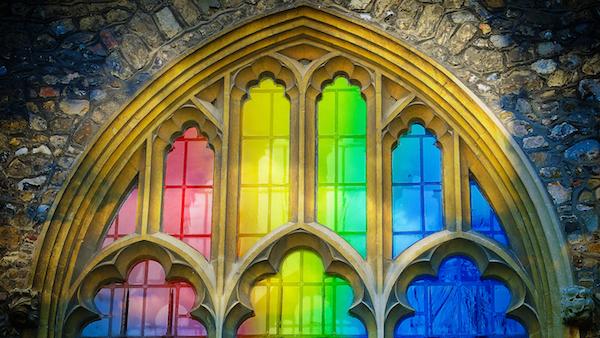 Rainbow stained glass church window