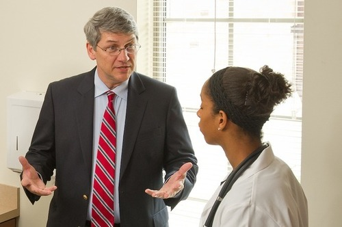 Dr. Vachon speaks with a pre-med student
