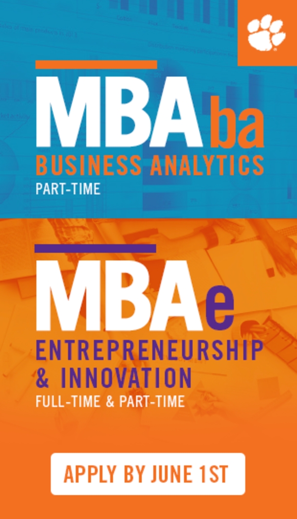 MBAba Business Analytics part-time. MBAe Entrepreneurship & Innovation Full-time and Part-Time. Apply by June 1st.