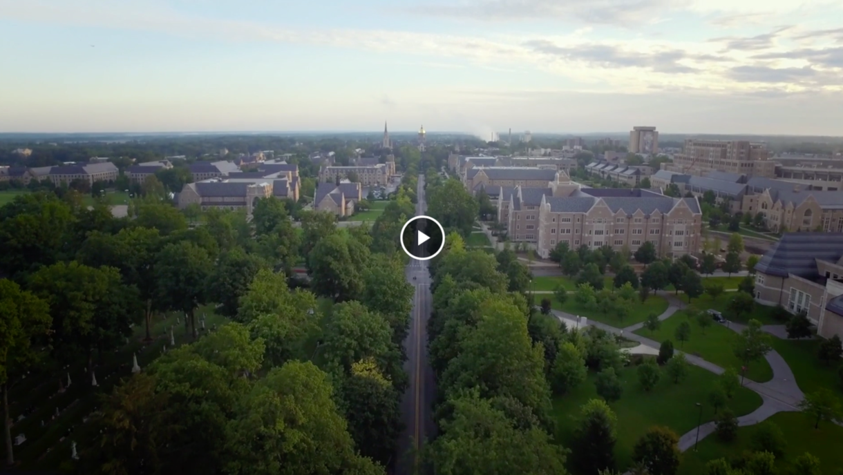 Drone shot of University of Notre Dame campus.