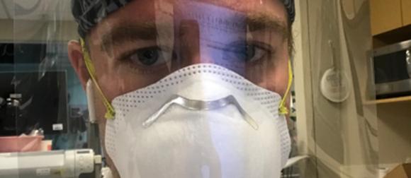 Luke Fey with face mask on