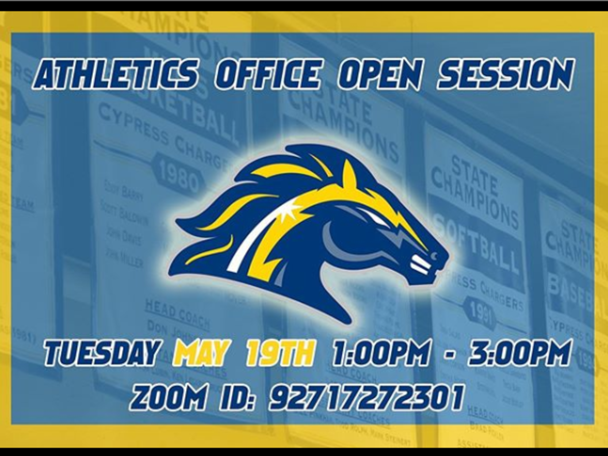 Athletics Office Open Session Tuesday, May 19, at 1-3 p.m. Zoom ID: 92717272301