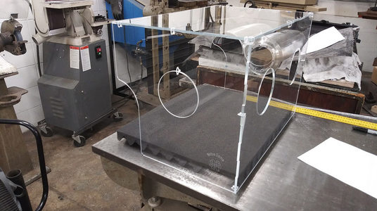 Photo of intubation shield developed at Notre Dame for local hospitals