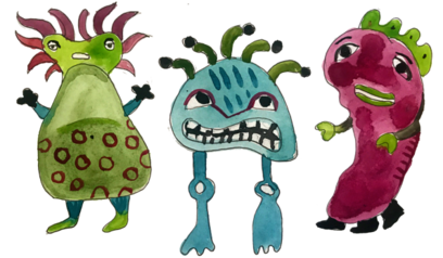 bacteria monsters illustration